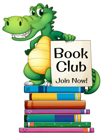 Illustration of a dragon standing on a stack of books