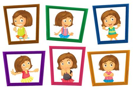 cute cartoon kids frame: Illustration of many photo frames of a girl