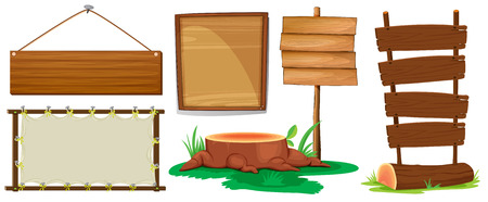 log wall: Illustration of different designs of wooden signs
