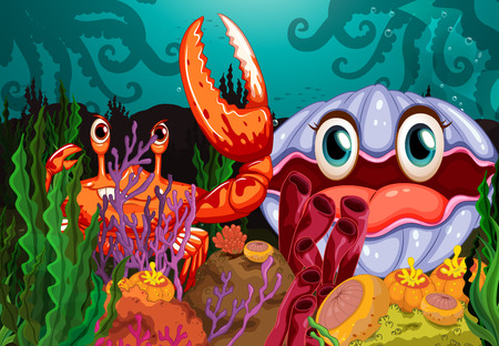clam: A big crab and a clam under the sea Illustration