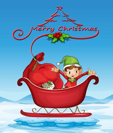 Illustratie van een kerstkaart met een elf op een slee