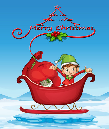 Illustration of a christmas card with an elf on a sledge