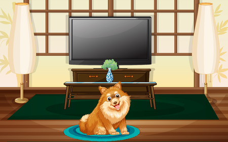 bestfriend: A cute dog inside the house in front of the TV
