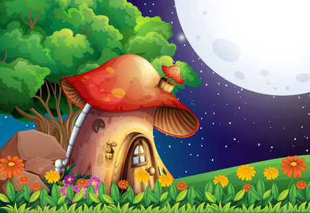 endpoint: A mushroom house under the bright fullmoon Illustration