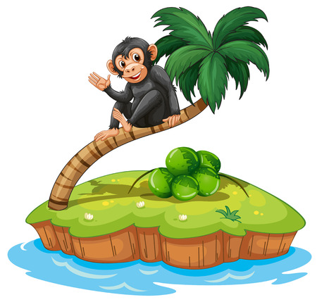 A monkey above the coconut tree in an island on a white background Illustration