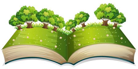 sembrando un arbol: Ilustración de un libro emergente con un campo Vectores