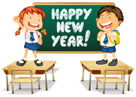 writing chair: Illustration of students and a happy new year board