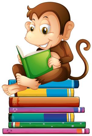 livre �cole: Illustration d'un singe en lisant un livre Illustration