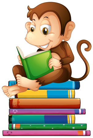 books isolated: Illustration of a monkey reading a book