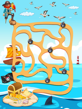 Illustration of a maze game with ocean view Stock Illustratie