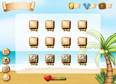 ocean view: Illustration of a computer game with ocean view Illustration
