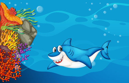 A big shark under the sea Vector