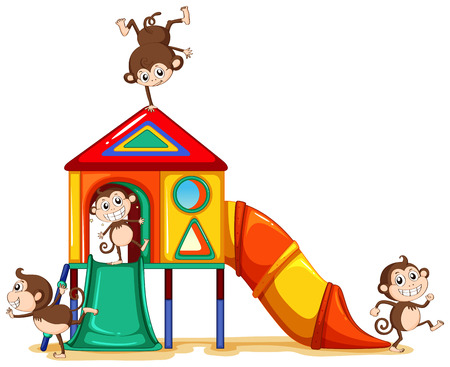 Monkeys playing at the playground on a white background Vector