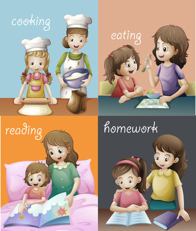 chores: Illustration of different routines of a mother and a daughter