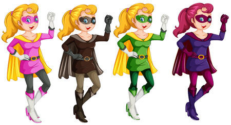 role model: Set of four superwomen in costumes
