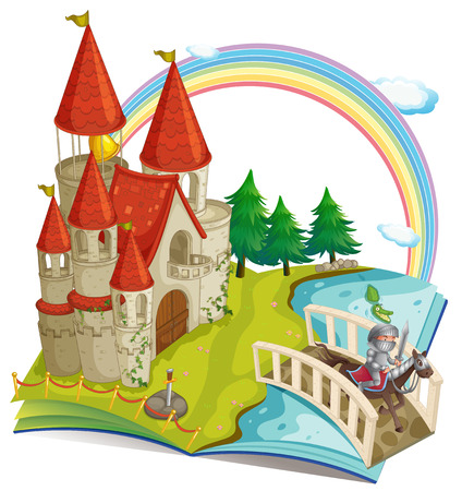 knight: Illustration of a pop-up book with castle and a knight