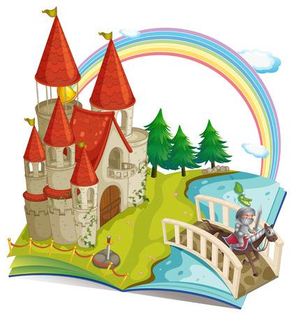 rycerz: Ilustracja z książki pop-up z zamku i rycerza