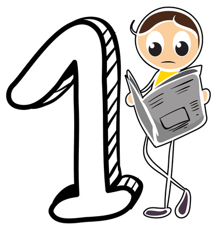 numbering: A number one on a white background Illustration