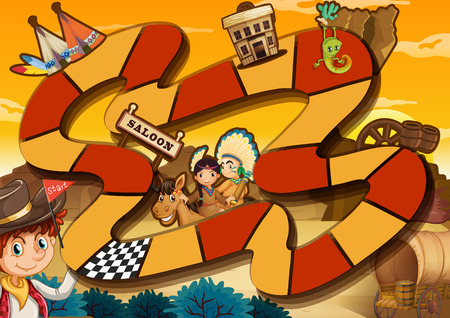 lizard in field: Ilustraci�n de un juego de mesa con el fondo occidental