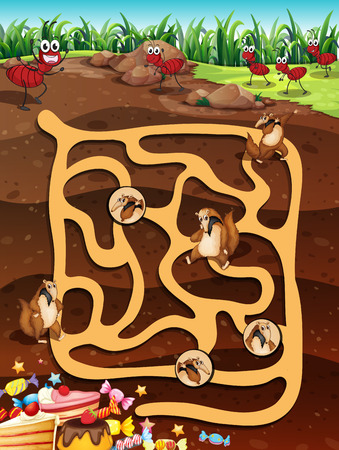 Illustration of a maze game with underground life