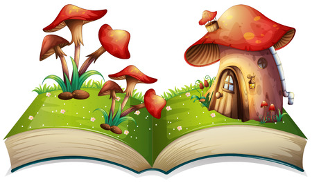 popup: Illustration of a popup book with mushroom house Illustration