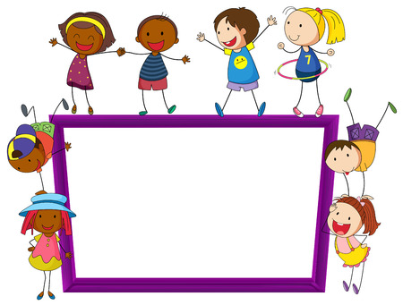 boarder: Illustration of kids playing around a frame Illustration