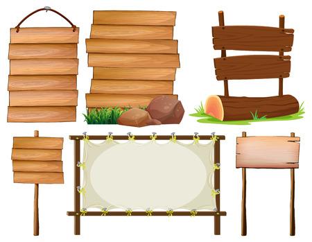 wood plank: Illustration of many design of wooden signs Illustration