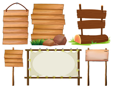 Illustration of many design of wooden signs Illustration