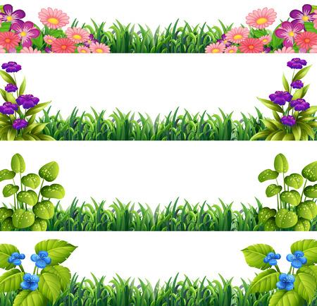 Ilustración de diferentes canta de decoración de flores