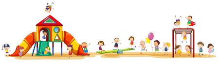Poster che mostra i bambini che godono del playset fuori Archivio Fotografico - 34642872