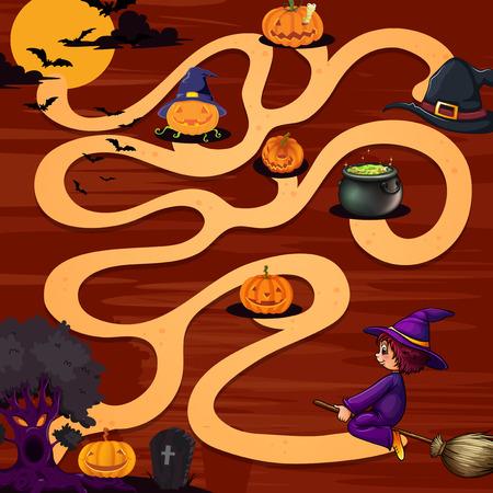 A halloween maze game with pumpkins Vector