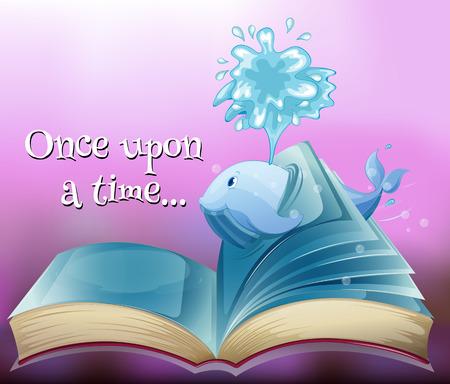 libro de cuentos: Un libro de cuentos con una ballena Vectores
