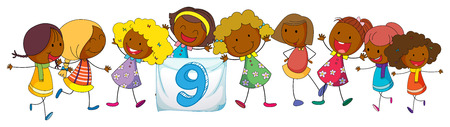 preschool poster: Illustration of number nine with many children