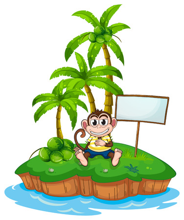 the land of menu: A monkey in the island with an empty signboard on a white background