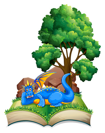 Illustration of a popup book with dragon and tree Vector