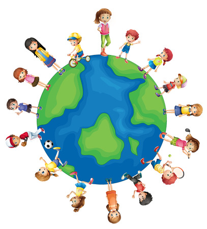 Illustration of children all around the world