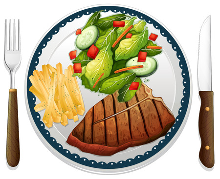 Illustration of a maindish of steak Stok Fotoğraf - 34642914