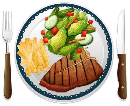 papas fritas: Ilustraci�n de un maindish de carne