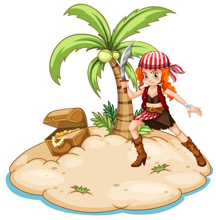mujer pirata: Ilustración de un pirata en una isla Vectores