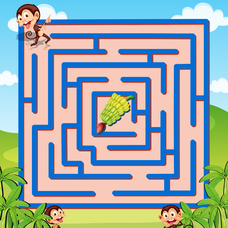Illustration of a maze puzzle with monkeys and bananas Illustration
