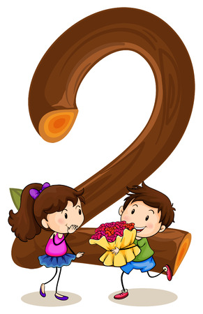Illustration of number two with a boy and a girl