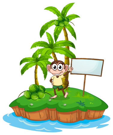 the land of menu: An island with a monkey and a signboard on a white background Illustration