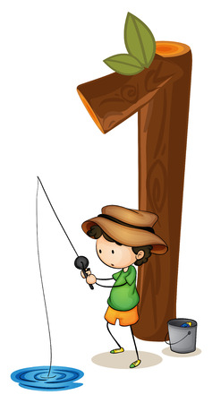 numbers clipart: Illustration of number one with a boy fishing Illustration