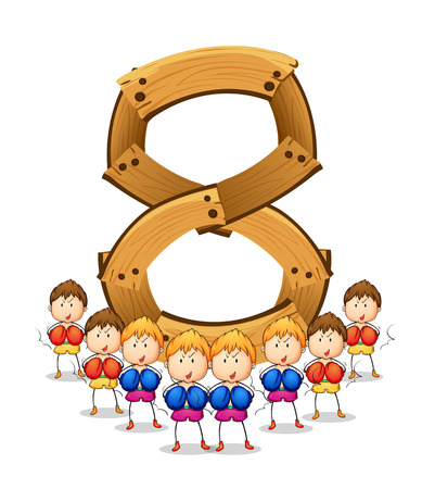 numbers clipart: Illustration of number eight with boxers Illustration