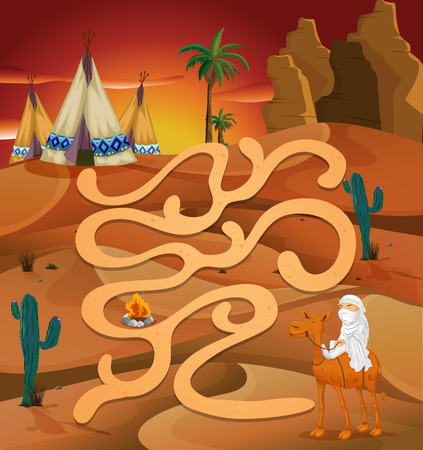 Illustration of a maze game with desert background Vector