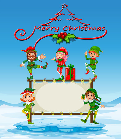 northpole: Illustration of a christmas card with many elves