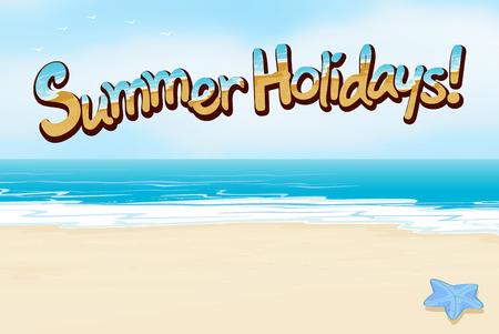 A summer holiday template at the beach Vektorové ilustrace