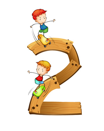 Illustration of number two with boys skatboarding