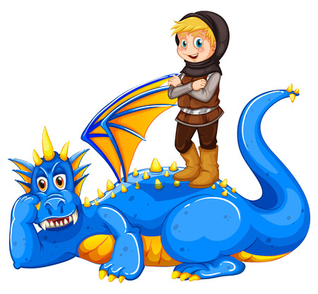 taming: A boy taming the dragon on a white background Illustration