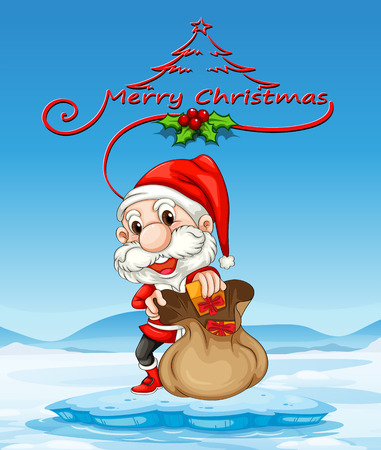 Illustration of a christmas card with santa Vector
